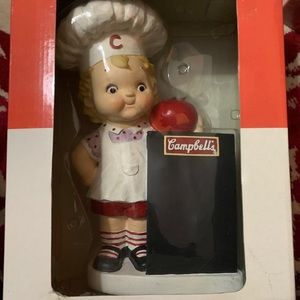 Campbell's soup bank and chalkboard